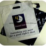 Bolso de compras suave plástico impreso blanco de la manija del lazo del HDPE