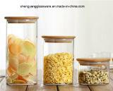 o frasco do armazenamento do alimento do vidro de Borosilicate 3PC ajustou-se com tampa de bambu