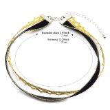 Terciopelo negro hecho a mano de moda caliente de la capa doble con el collar del ahogador del ganchillo del color del oro