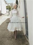 Garganta elevada que Wedding os vestidos de esfera nupciais Z2078 do Joelho-Comprimento do laço dos vestidos