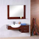 卸し売り壁に取り付けられたミラーの純木の浴室用キャビネット
