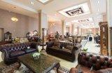 最上質のブラウンカラー型のチェスターフィールドの贅沢な革ソファーの家具