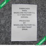 衣服のための卸売によって印刷されるサテンのスムーズな取扱表示ラベル