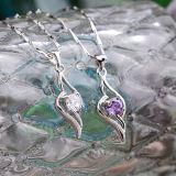 Ожерелье пера ангела стерлингового серебра женщин 925 привесное с цепью