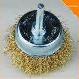 escova de fio do copo do nó da torção de 75mm para a broca à remoção da pintura/oxidação