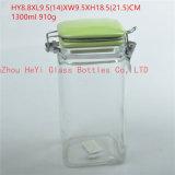 recipiente de alimento 1300ml de vidro, série de vidro do frasco do selo com tampa colorida