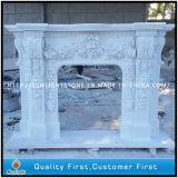 美しい花の電気暖炉のマントルピースの環境の白い大理石の暖炉
