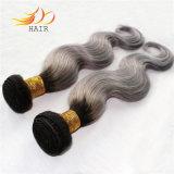 高品質2の音色のブラジルの人間の毛髪のWeft薄い色の毛