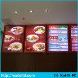 Bâti de cadre léger en aluminium de menu du restaurant DEL
