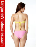 "Swimwear Strapless do Bowknot cor-de-rosa grande ""sexy"" do biquini das senhoras"