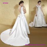 La robe de mariage royale populaire de modèle avec V inférieur desserrent et cintrent le produit de queue