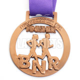 China-Fabrik-kundenspezifischer antiker alter kupferner Preis-Sport-laufende Laufring-EBB-Medaille mit Farbband-breiten Abzuglinien