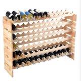 Estante amontonable del sótano de los estantes de visualización de la grada del almacenaje 6 del estante del vino de la botella de madera 72