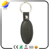 Rectángulo y cuero negro verdadero oval con el Keyring de la insignia del sello
