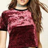 Dame-Form-Samt-Kurzschluss Sleeves Shirt-Bluse