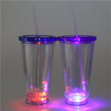 vaso de acrílico 16oz con el vaso inferior de la paja del color LED