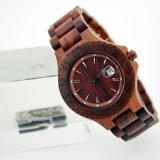 Relógio de madeira saudável ambiental do Sandalwood vermelho do fecho