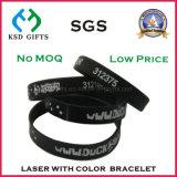 Braccialetto promozionale di plastica di coloritura del silicone inciso laser
