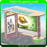 Los refugios marco de aluminio acero calle Polo Publicidad Estación de autobuses con la mesa de luz
