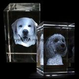 Laser 3D gravierte Kristallglas-Würfel-Block-Andenken