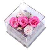 Rectángulo de acrílico de la flor de Rose de la flor plástica clara transparente de la alta calidad