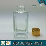 frasco de vidro do difusor 100ml de lingüeta retangular com tampão do ouro