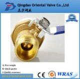Media del petróleo y vávula de bola de cobre amarillo de la presión de la presión inferior 1 pulgada