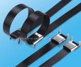 fascetta ferma-cavo rivestita 304/316 della serratura dell'ala del PVC dell'acciaio inossidabile per elettricità