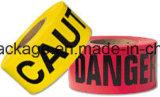 注意のための赤くおよび黄色の注意テープ