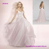 Rede Posy-Bordada baga A da cor-de-rosa do corpete do querido da cinta de espaguete - linha vestido de casamento com a saia circular cheia do bordado floral