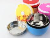Tazón de fuente del almacenaje del alimento de la historieta del acero inoxidable con la tapa (FT-03006)