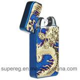 USB 재충전용 방풍 불꽃 없는 전자 두 배 펄스 아크 담배 점화기