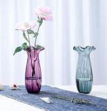 Ваза оптового красивейшего кристаллический прозрачного стеклянного цветка цветастая для домашнего украшения