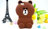 oso de Brown de la caja del silicón de la historieta 3D para el iPhone 7 accesorios del teléfono de 7plus J5prime J7