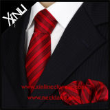 縞模様のメンズ方法100%絹によって編まれるタイおよびポケット正方形