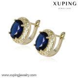 93036 серьга Zircon золота ювелирных изделий 14k способа круглая с синим камнем