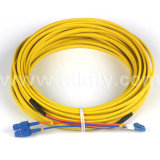 Cable robustos planos dobles Duplex fibra óptica Patch