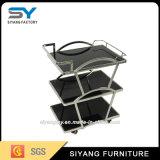 レストランの家具のステンレス鋼の食堂車3つの層の茶トロリー