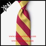 人のための完全な結び目100%の絹のジャカードあずき色および黄色のタイ
