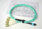Mpo-LC de Assemblage van de Kabel van de Ventilator uit, 12-kern, Om3, 1 Meter
