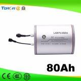 11.1 voltios recargable de litio de 80Ah solar de batería solar Farola