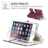 леопарда крышки протектора iPhone 7 случай телефона бумажника кожаный Handmade