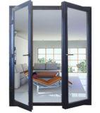 Le double a glacé la porte articulée par aluminium, porte de tissu pour rideaux, la porte en aluminium Pnoc0320