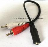 Cable del RCA, 2RCA hasta el cable de Gato de la hembra de 3.5m m