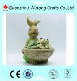 Crisol de flor animal de la resina del jardín del conejo de la decoración del jardín