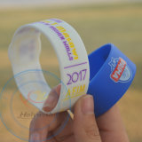 Faixas de borracha do pulso do bracelete do silicone do logotipo da impressão da tela personalizadas