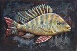 Arte de la pared de la pintura al óleo del metal 3D del hierro para los pescados
