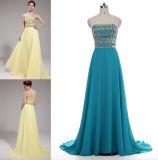 A - Zeile/Abschlussball-Kleid der Prinzessin-Strapless Sweep Train Chiffon mit dem Bördeln