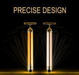 equipamento dourado da beleza da massagem do vibrador da barra da beleza da pele 24k