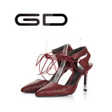 Поддельный ботинки платья пальца ноги пункта сандалий Snakeskin шнуруя вверх с пяткой металла